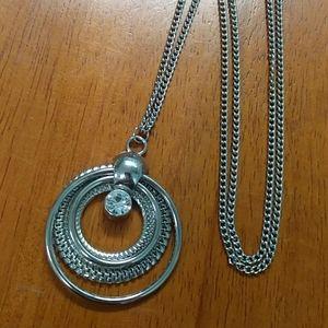 Silver rhinestone circle pendant